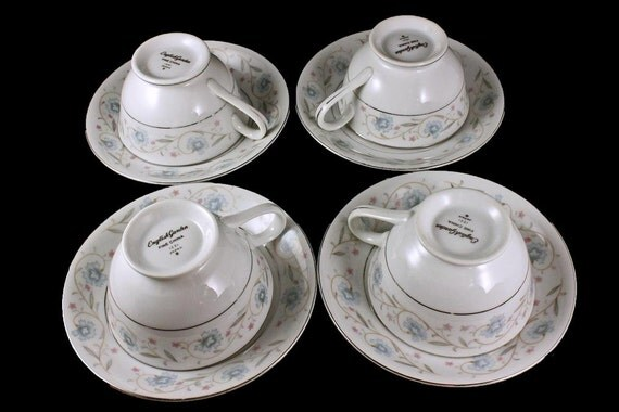 English Garden Platinum Cups and Saucers, Tea Cups, Footed Cups, Fine China, Japan, Set of 4