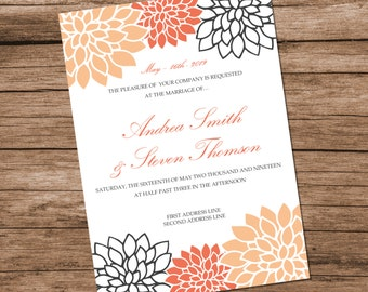 Printable Wedding Invitation Template, Peach Chrysanthemum Design, Peach Flowers, INSTANT DOWNLOAD, Editable Text & Colors, 5x7 inches