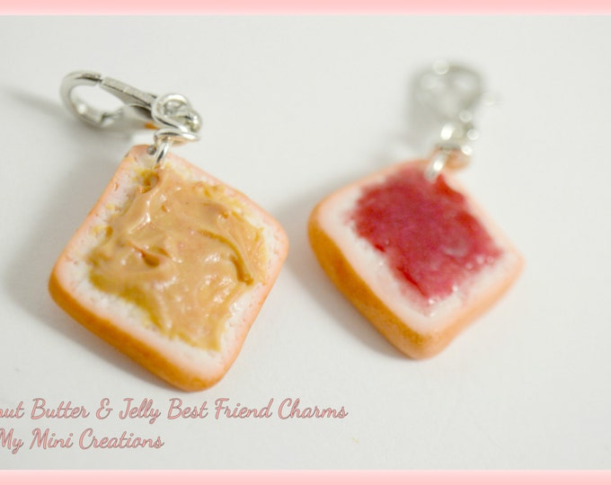 Peanut Butter & Jelly Best Friend Charms, Miniature Food, Miniature Food Jewelry, Food Jewelry