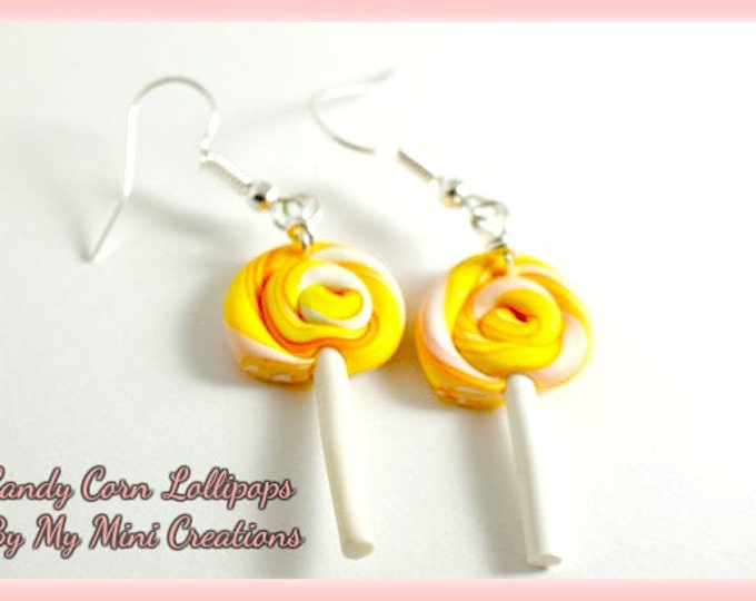 Candy Corn Lollipop Earrings , Miniature Food, Food Jewelry, Miniature Food Jewelry