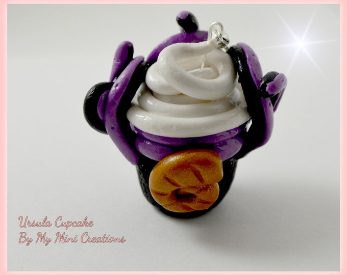 Disney Inspired Ursula Cupcake Charm , Miniature food jewelry,  Miniature food,
