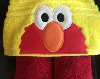 Elmo inspired hooded towel bath/pool/beach