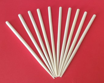 10 White Hair Sticks, Wood Hair Sticks, Bleached Dica 6 1/2""