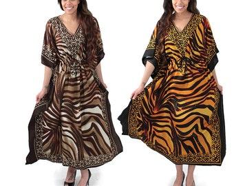Floral Animal Stripe Kaftan