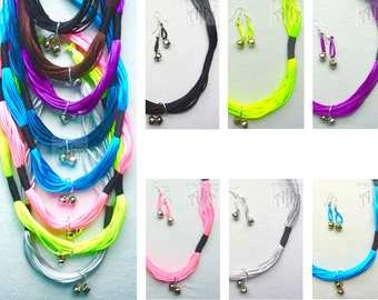 Necklace set with bell detail in bright candy colours