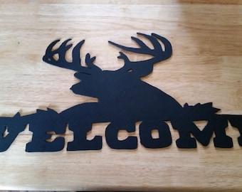 Metal Deer Welcome Sign. Hand Plasma Cut.