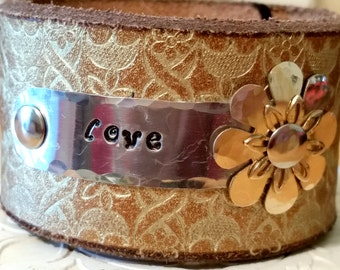 Love stamped Gold Leather Cuff belt bracelet