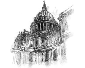 Artistic sketch of a St Pauls London on watercolour or antique book pages.