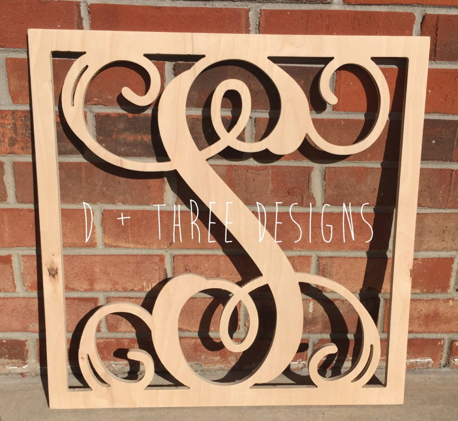 24 inch wooden square monogram letter wooden monogram for Monogram homes