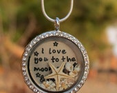 I love you to the moon and back necklace - Moon necklace - I love you necklace - Best friends necklace - Crescent Moon Charm Necklace.