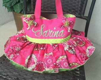 Tutu Tote Bag, Large 13x13 or Medium 11x8.   Personalization