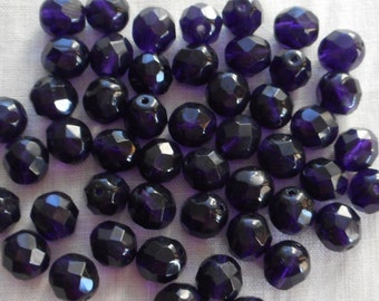 25 6mm Czech glass beads, Deep Violet, Purple, Amethyst firepolished, faceted round beads C6325
