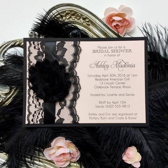 ASHLEY - Pink and Black Bridal Shower Invitation - Black Lace Bridal Shower Invite - French Boudoir Invitation - Chiffon Flower Invitation