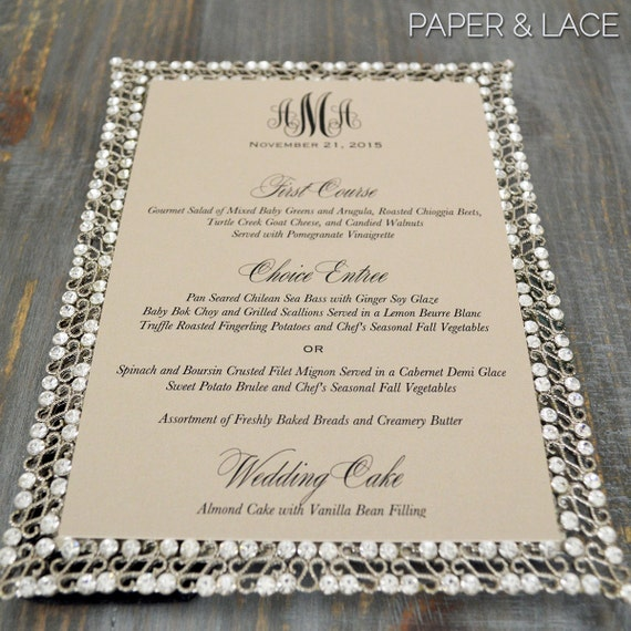 Wedding Menu with Monogram- Beige Sand Wedding Menu - Custom Menu - 5x7 Card Stock - Many Color Options Available