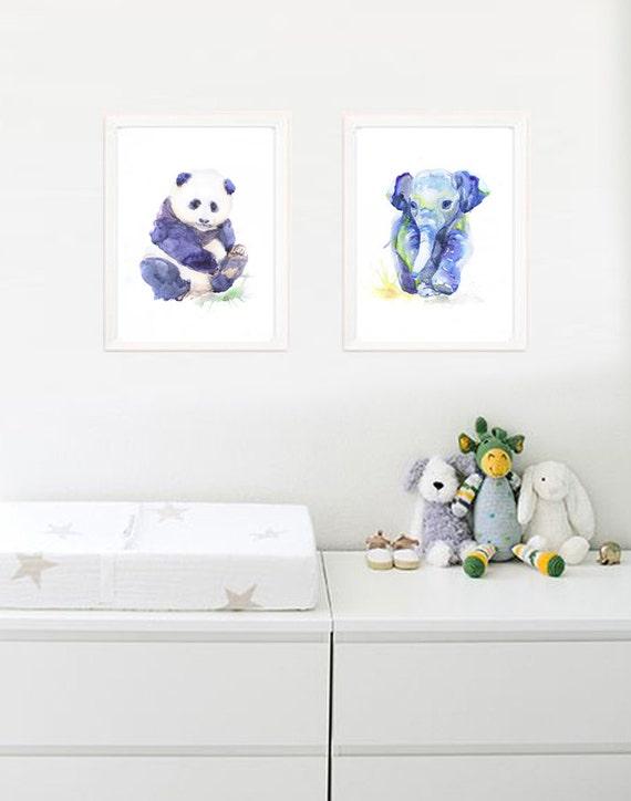 Baby Panda Art Watercolor Painting Boy Girl Nursery By Valrart