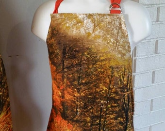 SALE Fall Leaves Forest Path Stunning Apron Child Apron READY TO Ship