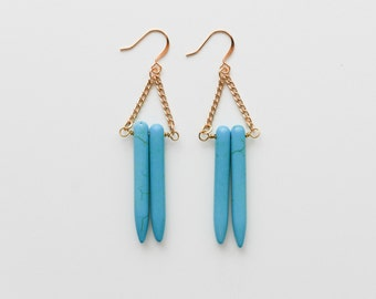 Turquoise Spike Earring, Gold and Turquoise Earring, Dangle Earring