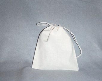 10 pcs Cotton Drawstring Bags, Muslin Wrapping Bags, 7 x 8 inch
