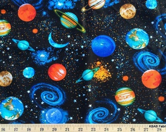 Planets fabric etsy for Outer space fabric by the yard