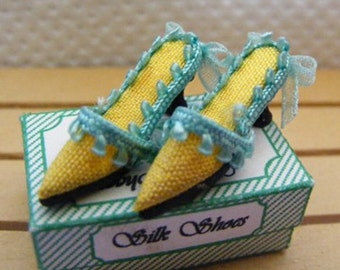 Dolls House Miniature Yellow Silk Slipper Shoes
