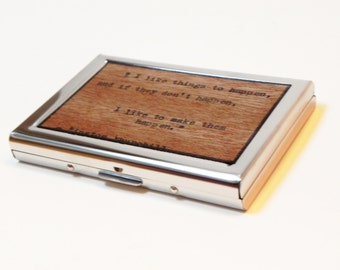 Card Wallet - Winston Churchill typewriter quote, cash, money, cards, business, credit, debit, pocket book, credit card, visa, mastercard