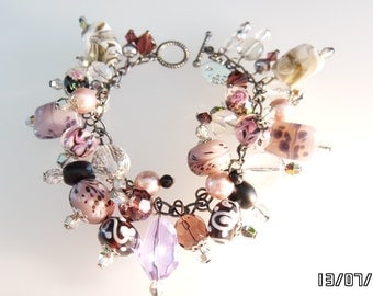 Gunmetal Charm Bracelet Crystal Czech Glass & LampWork Beads
