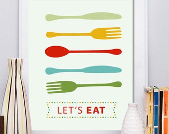 Spoon fork knife Print, spoon Poster, Kitchen Poster, Mid Century Art, Kitchen Print, Kitchen Art, Retro - Lets eat Kitchen Quote