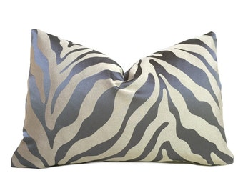 """Stout Designer Gray Beige Animal Stripe Pattern Pillow Cover, Fits 12x18 14x20 16x26 16"""" 18"""" 20"""" 22"""" 24"""" Cushions"""