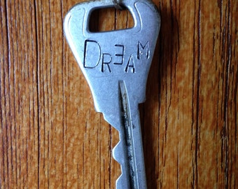 Hand Stamped 'Dream' Vintage Key Necklace