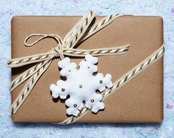 Double-sided felt snowflake ornament