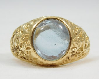 14k Gold Gentleman's Ring Jeweled with a Sleek Moonstone