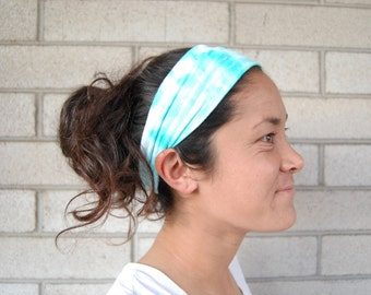 Aqua Tie-Dye SCRUNCH-BACK Headband // Adult Headband, Wide Headband, Stretchy Headband