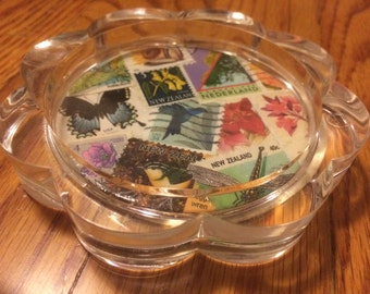 Nature-Spring Postage Stamp Clear Plastic Coaster & Paper Weight-Postage Stamp Art