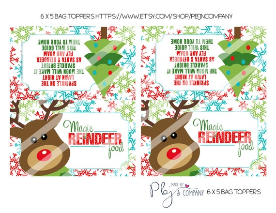 Magic reindeer food favor bag toppers holiday party printable 2 6x5