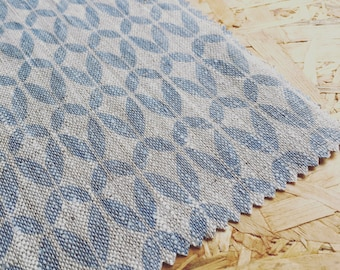 Retro Scandinavian Fabric- Blue Linen Fabric- Scandinavian Fabric- Siri- Modern Fabric- Linen Fabric- Fabric By The Metre- Natural Linen