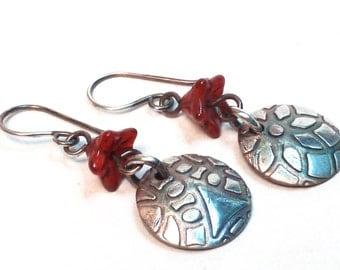 Textured Fine Silver Drop Earrings, dangle earrings, PMC, metal clay, boho, bohemian, minimal, zen, organic, handmade, red, textured