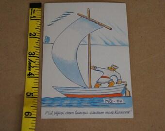 Vintage 1970s - Latvian put vejin color postcard - Latvia - man in sailboat