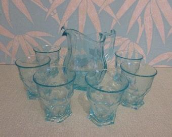Vintage pale aqua coloured glass water jug and tumbler set