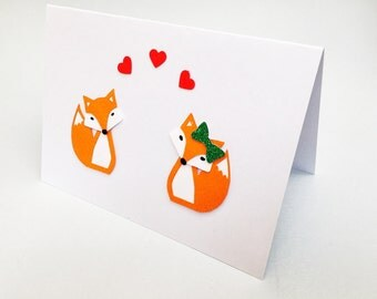 Fox valentine's card, cute fox card, fox anniversary card, his and hers fox card, foxes in love card, fox couple card, woodland fox card