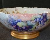 Limoges T &V Porcelain Punch Bowl Artist Signed Grapes Pattern