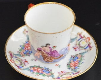 Antique Ginori Doccia Capodimonte Cup & Saucer Set Mold Blown CAPO DI MONTE Rococo Branch Handle Bas Relief Mythological Porcelain Decor