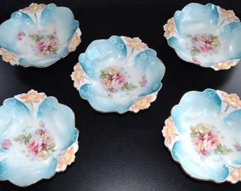 RS Prussia Porcelain Berry Bowl Set Lily Mold 29 Art Nouveau Period Cottage Chic Decor