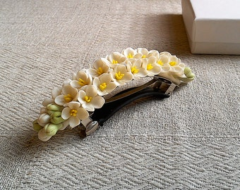 """Barrette """"White syringa"""" - floral barrette - clay flowers - floral accessory"""