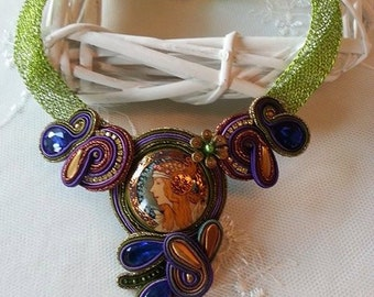 Necklace made from crochet wire with Soutache element and even painted Cabachon