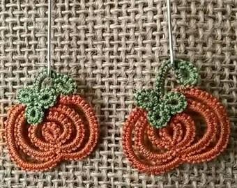 Needle Tatted Autumn Pumpkin Earrings