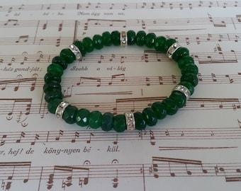 Green Emerald Bracelet, Faceted Green Emerald Stretch Bracelet, Gemstone Stretch Bracelet, Emerald Bracelet, Emerald Gemstone,Beaded