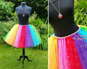 ADULT Rainbow Coloured Sparkly Knee Length Tutu Skirt