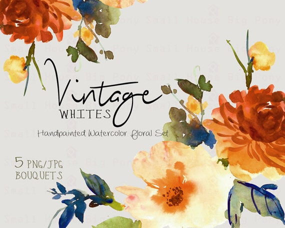 Digital Clipart- Watercolor Flower Clipart, Vintage Clip art, Floral Bouquet Clipart, wedding flowers clip art- Vintage White Bouquets
