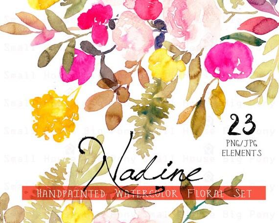 Digital Clipart- Watercolor Flower Clipart, flower Clip art, Floral Bouquet Clipart, rustic flower, wedding flower clip art- Nadine Elements