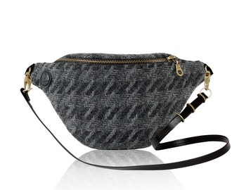 Houndstooth Gray (Old Gold) - hip bag with strap